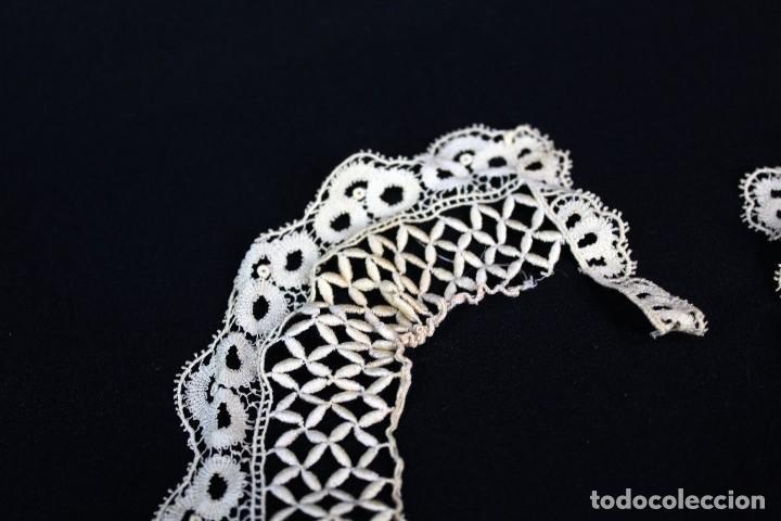 Antigüedades: 285 Cuello elaborado a mano en hilos de seda S XIX - Foto 3 - 162559294