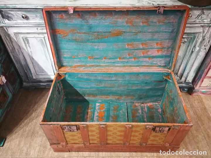 Antigüedades: Baúl antiguo de madera y metal - Foto 6 - 162566366