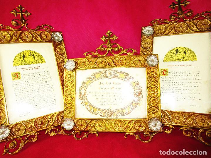 ESPECTACULAR JUEVO DE SACRAS DE IGLESIA DE ALTAR PARA MISAS EN BRONCE AL ORO Y (Antigüedades - Religiosas - Artículos Religiosos para Liturgias Antiguas)