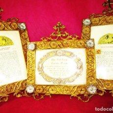 Antigüedades: ESPECTACULAR JUEVO DE SACRAS DE IGLESIA DE ALTAR PARA MISAS EN BRONCE AL ORO Y. Lote 162569394