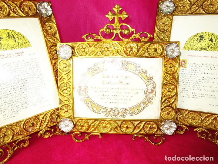 Antigüedades: ESPECTACULAR JUEVO DE SACRAS DE IGLESIA DE ALTAR PARA MISAS EN BRONCE AL ORO Y - Foto 2 - 162569394