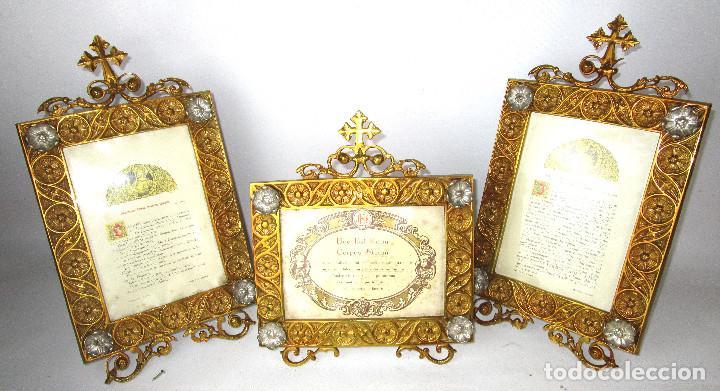 Antigüedades: ESPECTACULAR JUEVO DE SACRAS DE IGLESIA DE ALTAR PARA MISAS EN BRONCE AL ORO Y - Foto 3 - 162569394