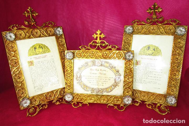 Antigüedades: ESPECTACULAR JUEVO DE SACRAS DE IGLESIA DE ALTAR PARA MISAS EN BRONCE AL ORO Y - Foto 5 - 162569394
