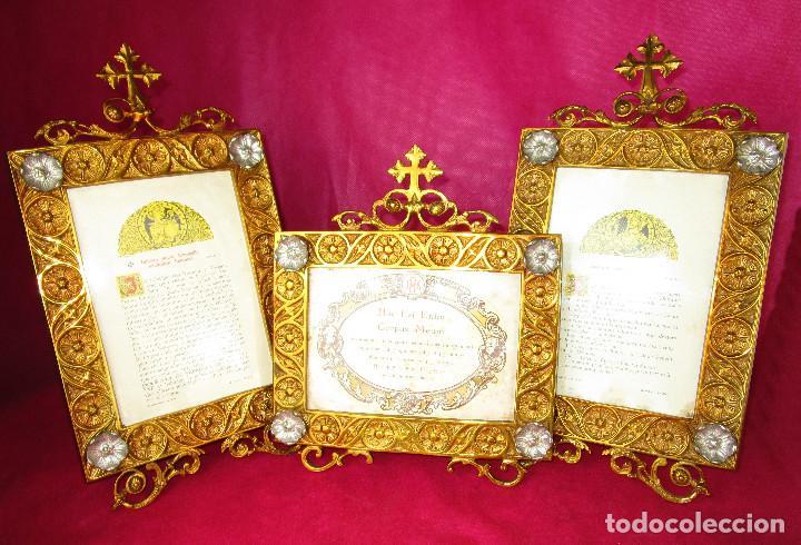 Antigüedades: ESPECTACULAR JUEVO DE SACRAS DE IGLESIA DE ALTAR PARA MISAS EN BRONCE AL ORO Y - Foto 7 - 162569394
