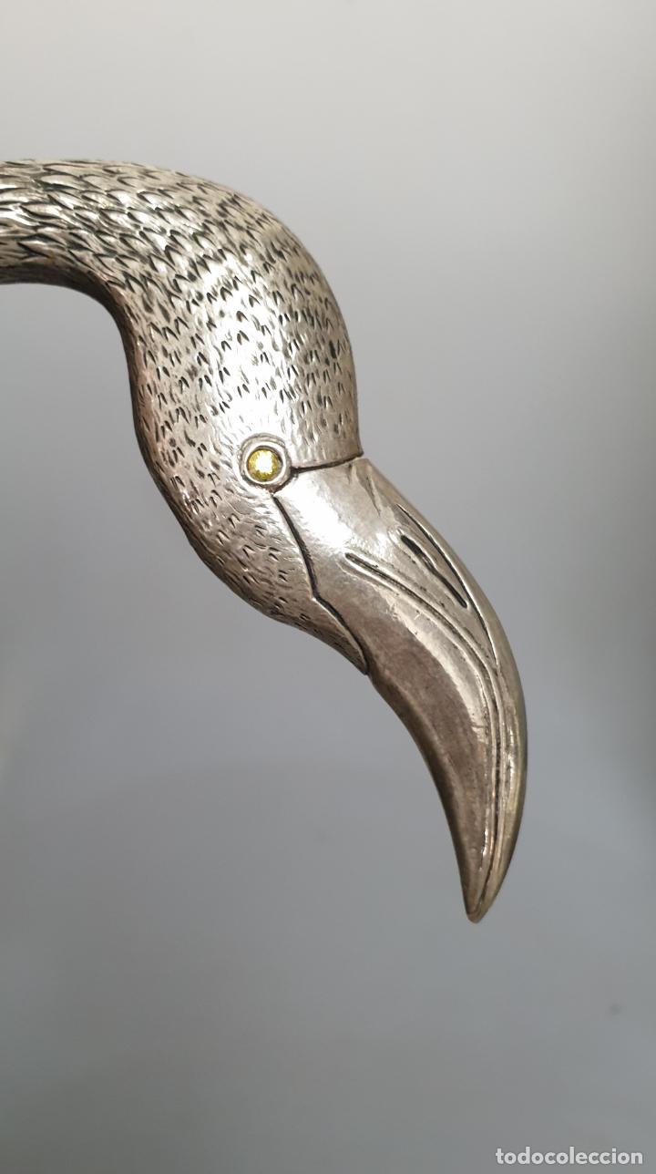 Antigüedades: Flamenco en concha plata ley y nacar madreperla marcado con contraste - Foto 3 - 162571254