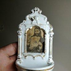 Antigüedades: ANTIGUA BENDITERA PILETA EN PORCELANA CERAMICA BISCUIT ESMALTADO TIPO VIEJO PARIS-. Lote 162605610