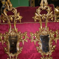 Antigüedades: PAREJA DE CORNUCOPIAS ORO FINO SIGLO XIX. Lote 172246259
