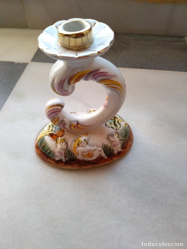 Antigüedades: Antiguo candelabro de porcelana pintado a mano Elpa Alcobaca Portugal - Foto 5 - 162627490