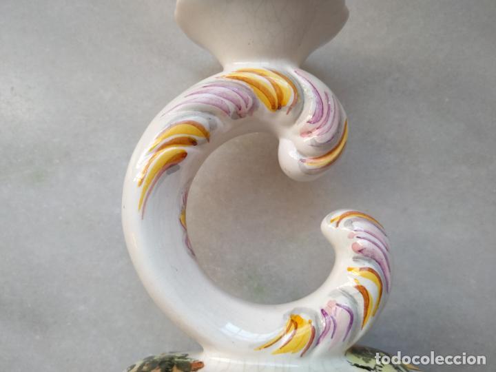 Antigüedades: Antiguo candelabro de porcelana pintado a mano Elpa Alcobaca Portugal - Foto 9 - 162627490