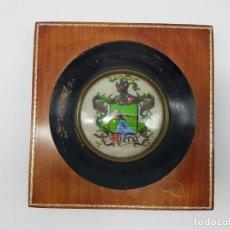 Antigüedades: MARCO CON PINTURA ESCUDO RIERA. Lote 162676202