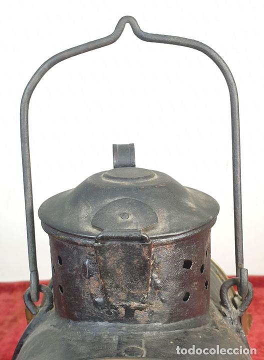 Antigüedades: FAROL FERROVIARIO O LINTERNA DE COLA. CARBURO. RENFE. NORTE. SIGLO XIX-XX. - Foto 3 - 162683706