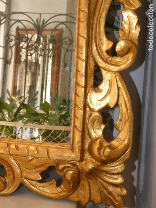 Antigüedades: Gran espejo estuco con pan de oro, finales siglo XIX.145 x 95 cms. Alguna pequeña falta. - Foto 7 - 162691762