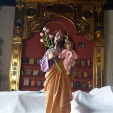Antigüedades: SAN JOSÉ CON JESÚS ÑIÑO . ESTUCO DE OLOT.. Lote 162770934