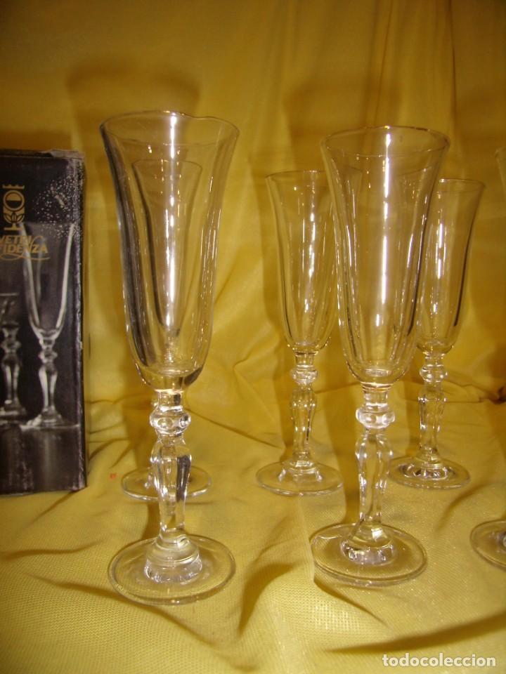 Antigüedades: Copas cristal licor filo oro 6 unid.Noblesse,Italianas de I Vetri di Fedenza,años 70,Nuevas sin usar - Foto 2 - 162775870