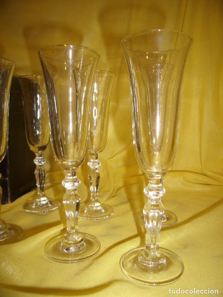 Antigüedades: Copas cristal licor filo oro 6 unid.Noblesse,Italianas de I Vetri di Fedenza,años 70,Nuevas sin usar - Foto 3 - 162775870