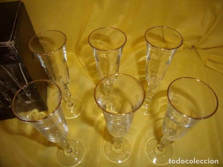 Antigüedades: Copas cristal licor filo oro 6 unid.Noblesse,Italianas de I Vetri di Fedenza,años 70,Nuevas sin usar - Foto 4 - 162775870