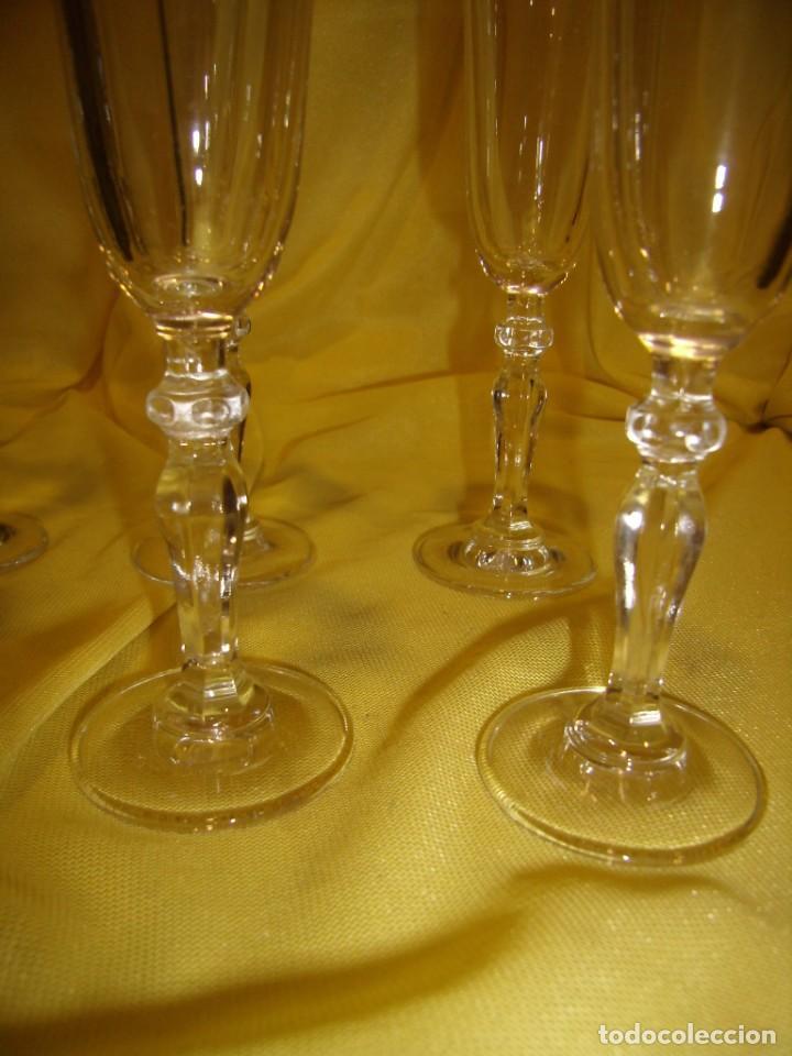 Antigüedades: Copas cristal licor filo oro 6 unid.Noblesse,Italianas de I Vetri di Fedenza,años 70,Nuevas sin usar - Foto 6 - 162775870