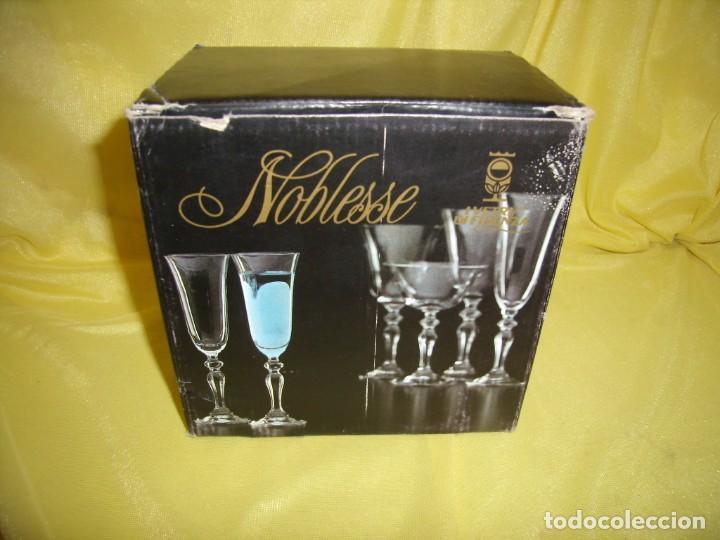 Antigüedades: Copas cristal licor filo oro 6 unid.Noblesse,Italianas de I Vetri di Fedenza,años 70,Nuevas sin usar - Foto 8 - 162775870