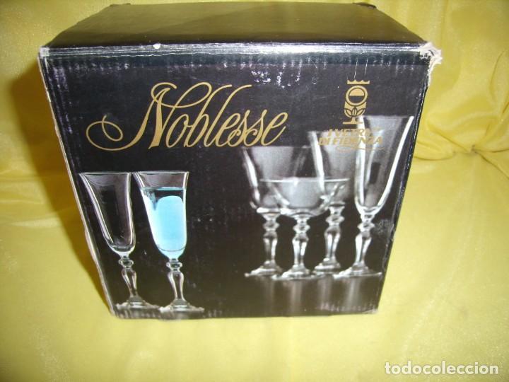 Antigüedades: Copas cristal licor filo oro 6 unid.Noblesse,Italianas de I Vetri di Fedenza,años 70,Nuevas sin usar - Foto 10 - 162775870