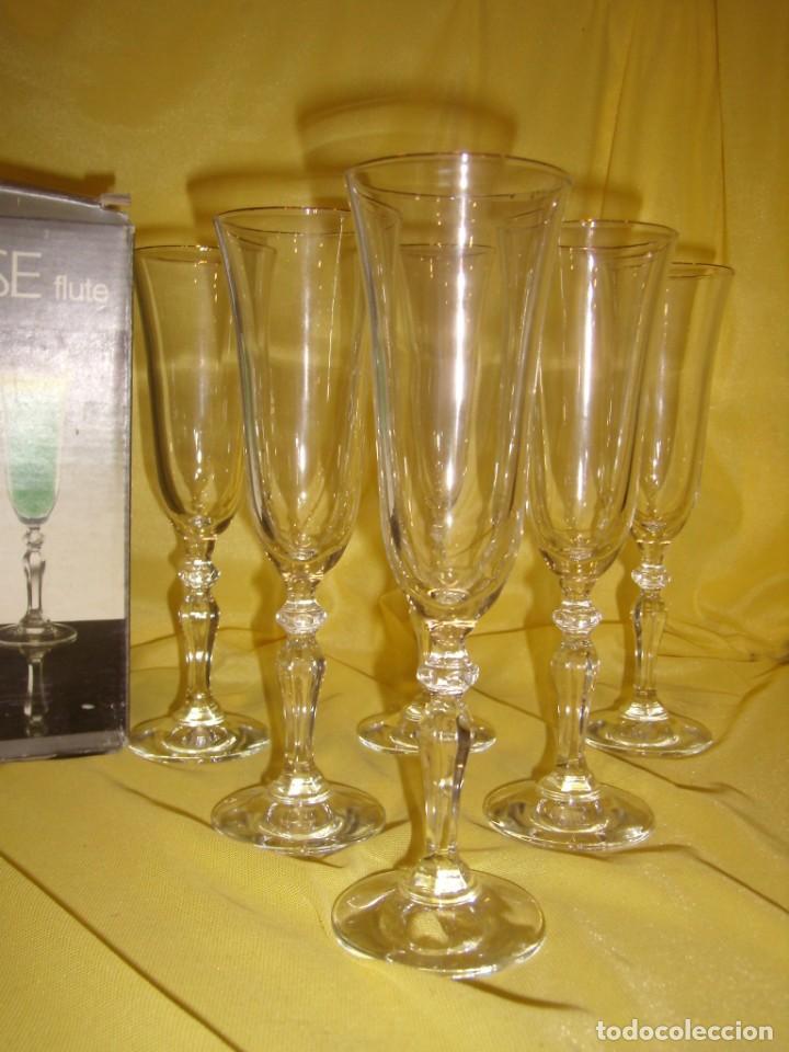 Antigüedades: Copas cristal champan,filo oro, 6 unid.Noblesse,Italiana Fidenza idee in Vetro,años 70, Nuevas. - Foto 2 - 162776946