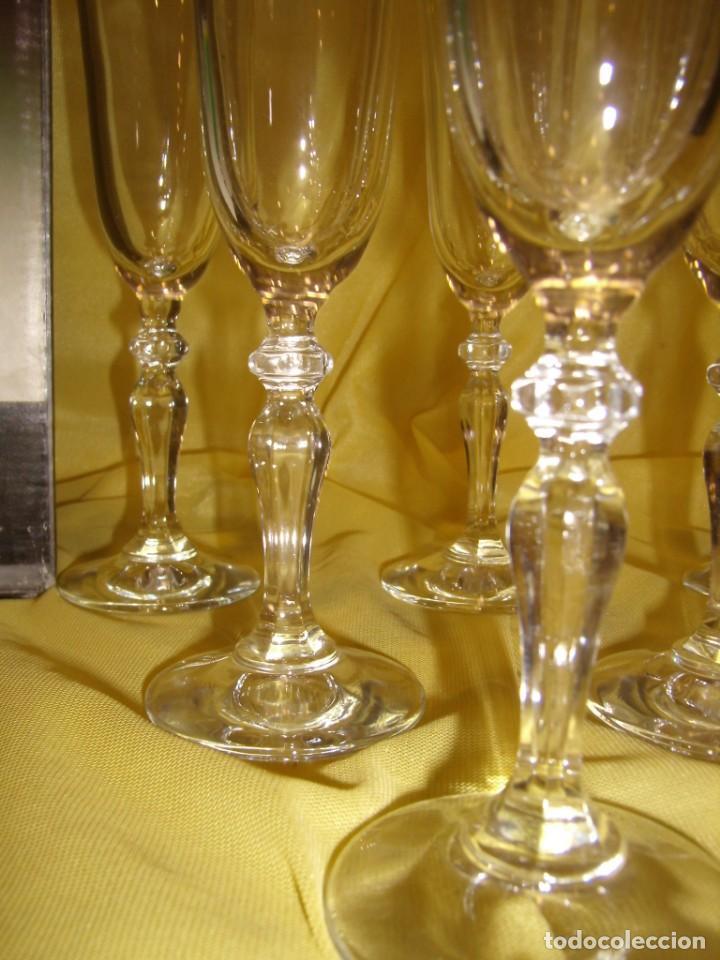 Antigüedades: Copas cristal champan,filo oro, 6 unid.Noblesse,Italiana Fidenza idee in Vetro,años 70, Nuevas. - Foto 3 - 162776946
