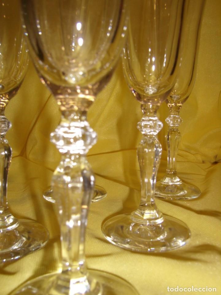 Antigüedades: Copas cristal champan,filo oro, 6 unid.Noblesse,Italiana Fidenza idee in Vetro,años 70, Nuevas. - Foto 4 - 162776946