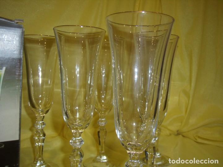 Antigüedades: Copas cristal champan,filo oro, 6 unid.Noblesse,Italiana Fidenza idee in Vetro,años 70, Nuevas. - Foto 5 - 162776946