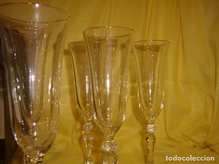 Antigüedades: Copas cristal champan,filo oro, 6 unid.Noblesse,Italiana Fidenza idee in Vetro,años 70, Nuevas. - Foto 6 - 162776946