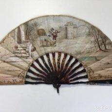 Antigüedades: ABANICO DEL S. XVIII EN CAREY Y CABRITILLA , PINTADO A MANO , ESCENA ROMÁNTICA. Lote 162780586