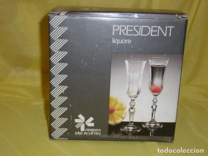 Antigüedades: Copas cristal licor President filo oro, 6 unid. ,Italianas de Fidenza idee Vetro ,años 70, Nuevas - Foto 9 - 162781386