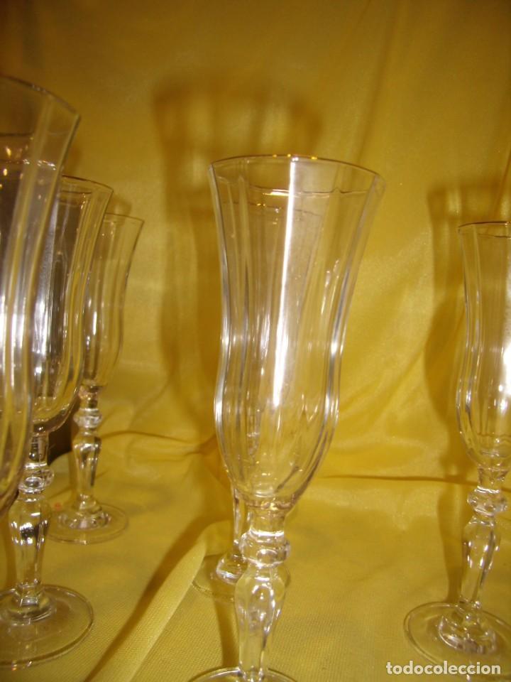 Antigüedades: Copas cristal licor President, filo oro, 6 unid.Italianas de Fidenza idee in Vetro ,años 70,Nuevas - Foto 7 - 162781902