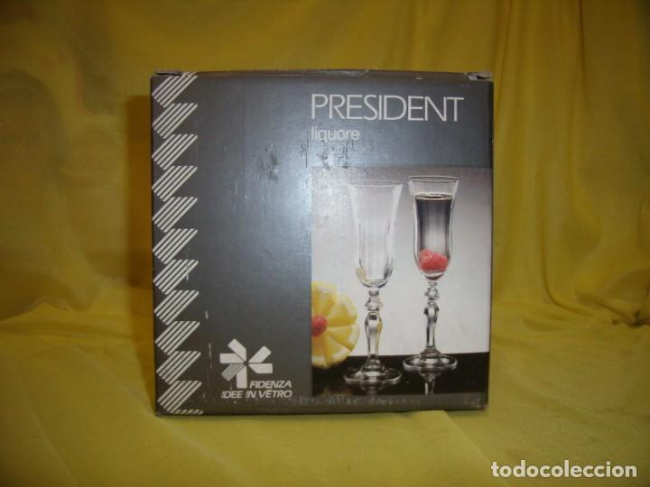 Antigüedades: Copas cristal licor President, filo oro, 6 unid.Italianas de Fidenza idee in Vetro ,años 70,Nuevas - Foto 8 - 162781902