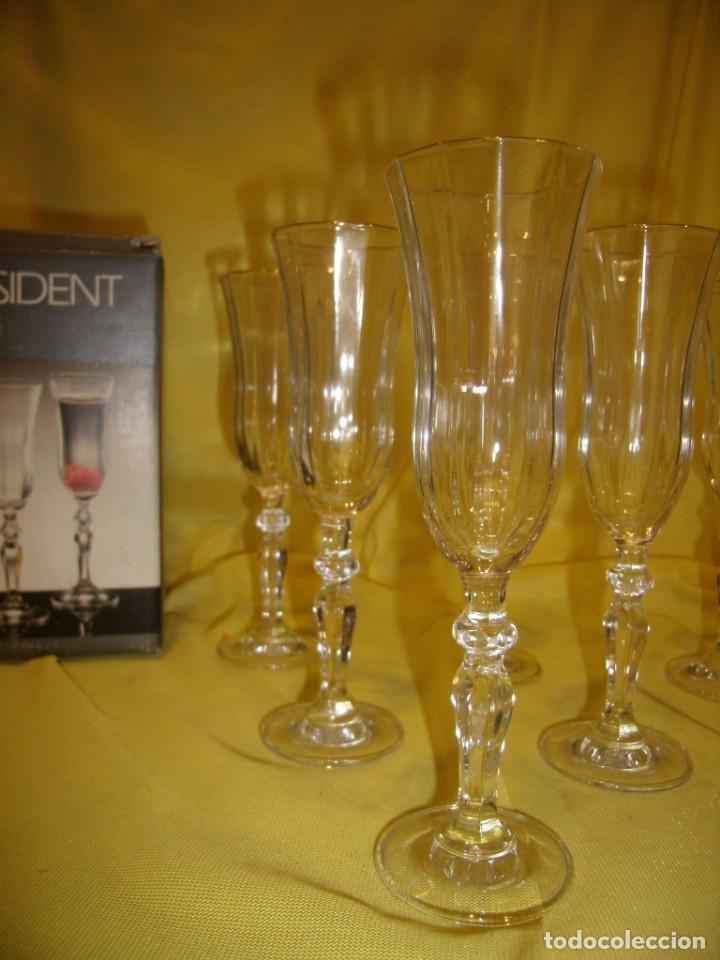 Antigüedades: Copas cristal licor President, filo oro, 6 unid.,Italianas de Fidenza idee in Vetro ,años 70,Nuevas - Foto 2 - 162782314