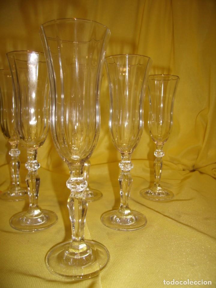 Antigüedades: Copas cristal licor President, filo oro, 6 unid.,Italianas de Fidenza idee in Vetro ,años 70,Nuevas - Foto 3 - 162782314