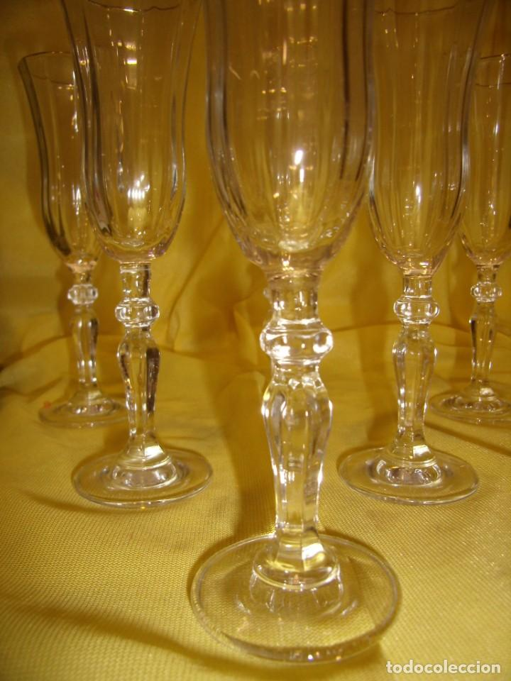 Antigüedades: Copas cristal licor President, filo oro, 6 unid.,Italianas de Fidenza idee in Vetro ,años 70,Nuevas - Foto 4 - 162782314
