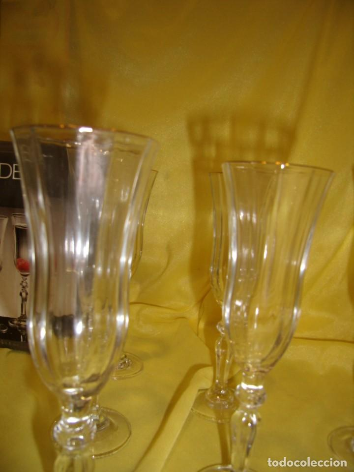 Antigüedades: Copas cristal licor President, filo oro, 6 unid.,Italianas de Fidenza idee in Vetro ,años 70,Nuevas - Foto 6 - 162782314
