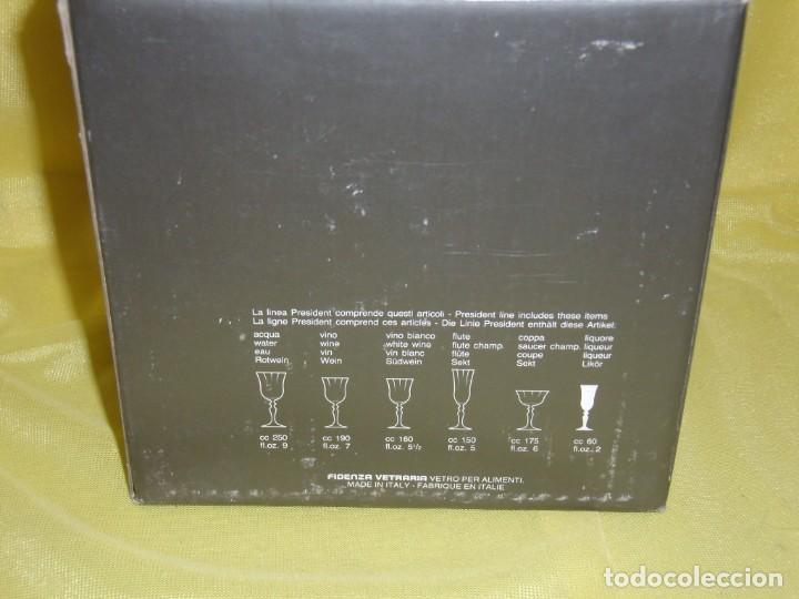 Antigüedades: Copas cristal licor President, filo oro, 6 unid.,Italianas de Fidenza idee in Vetro ,años 70,Nuevas - Foto 12 - 162782314