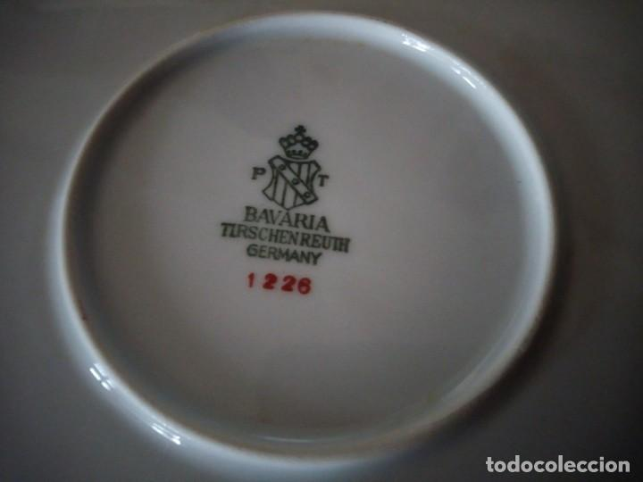Antigüedades: Precioso plato tartero de porcelana bavaria tirschenreuth germany,motivo flores y oro. - Foto 7 - 218428381