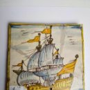 Antigüedades: AZULEJO CATALÁN, SIGLO XVII, NAVÍO. Lote 162916910