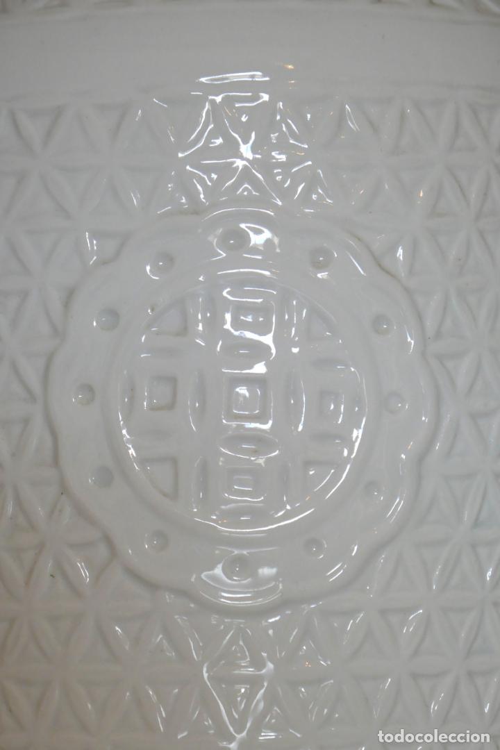 Antigüedades: Pareja de lámparas antiguas en porcelana china reticulada Blanc de Chine Dehua mediados s.XX vintage - Foto 7 - 162945650