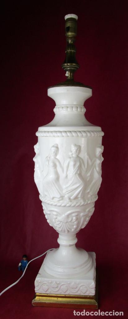 ENORME LAMPARA 88CM LAMPARA BONDIA MANISES CERAMICA ESTILO CLASICO (Antigüedades - Iluminación - Lámparas Antiguas)