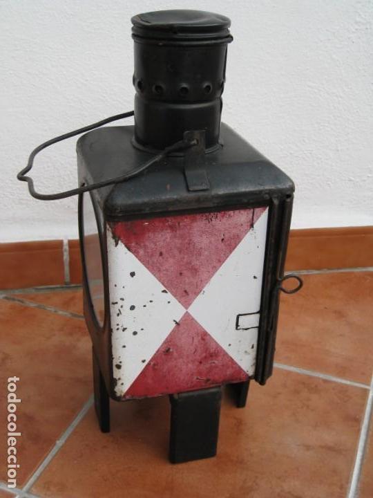 Antigüedades: Antiguo farol de Ferrocarril Alemán. 46cm - Foto 7 - 162965102