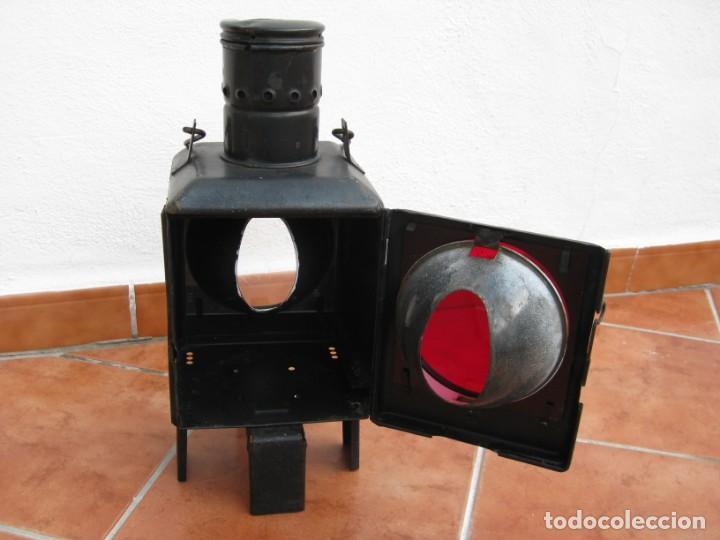 Antigüedades: Antiguo farol de Ferrocarril Alemán. 46cm - Foto 11 - 162965102
