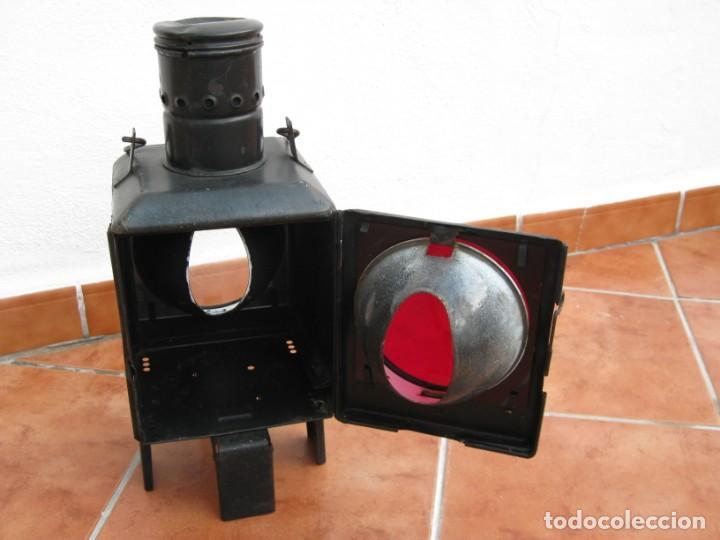 Antigüedades: Antiguo farol de Ferrocarril Alemán. 46cm - Foto 12 - 162965102