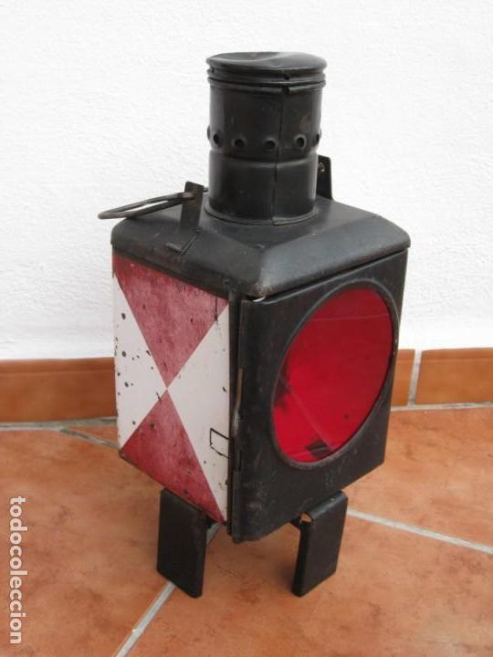 ANTIGUO FAROL DE FERROCARRIL ALEMÁN. 46CM (Antigüedades - Iluminación - Faroles Antiguos)