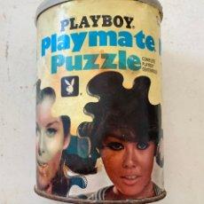 Antigüedades: BOTE METALICO PUZZLE PLAYBOY. Lote 162981022
