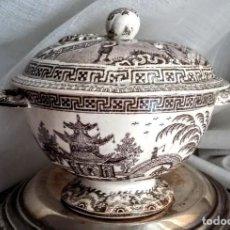 Antigüedades: PRECIOSA SOPERA/SALSERA LOZA ANTIGUA CON DECORACIÓN ORIENTAL. Lote 162991646