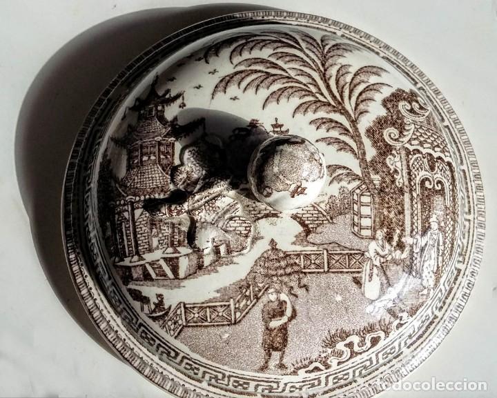 Antigüedades: Preciosa sopera/salsera Loza antigua con decoración oriental - Foto 2 - 162991646