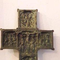 Antigüedades: CRUZ ORTODOXA EN BRONCE CON RELIEVES VIDA CRISTO. Lote 163003750