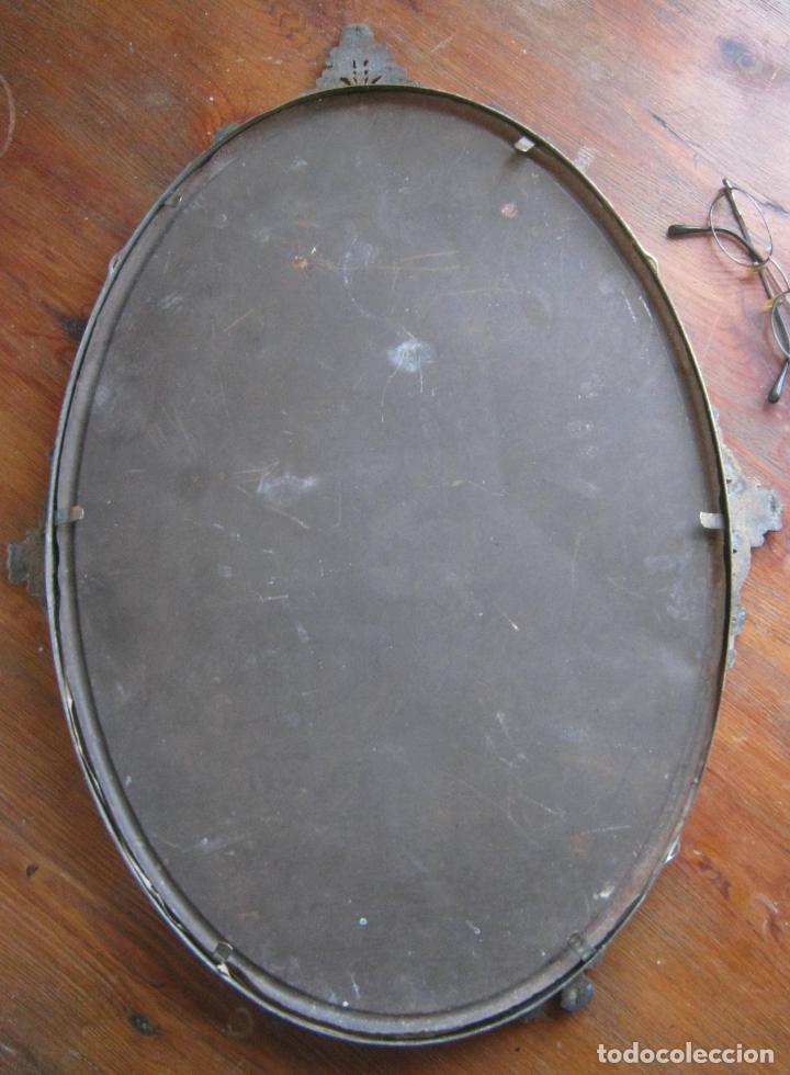 Antigüedades: 56 cm . S.XIX . Gran marco de metal . cornucopia . óvalo - Foto 5 - 163009666
